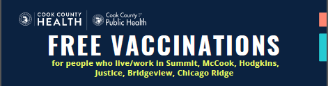 Cook County Department of Public Health Announcement:  FREE VACCINATION S at Summit Park District