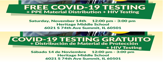 SD104 Heritage Middle School:  FREE Covid-19 Testing + PPE Material Distribution + HIV Testing:  Saturday, Nov. 14, 2020 from 12:00pm-3:00pm.