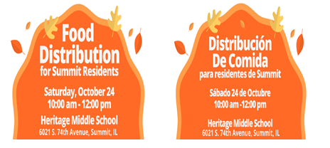 Food Distribution for Summit Residents- Saturday, October 24, 2020 (10am-12:00pm).   Distribucion De Comida para Residentes de Summit- Sabado, 24 de Octubre (10am-12pm).