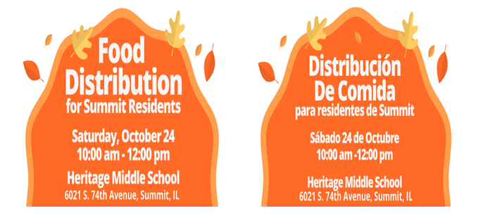 FREE! Food Distribution for Summit Residents- Saturday, October 24, 2020 (10am-12:00pm).  GRATIS! Distribucion De Comida para Residentes de Summit- Sabado, 24 de Octubre (10am-12pm).