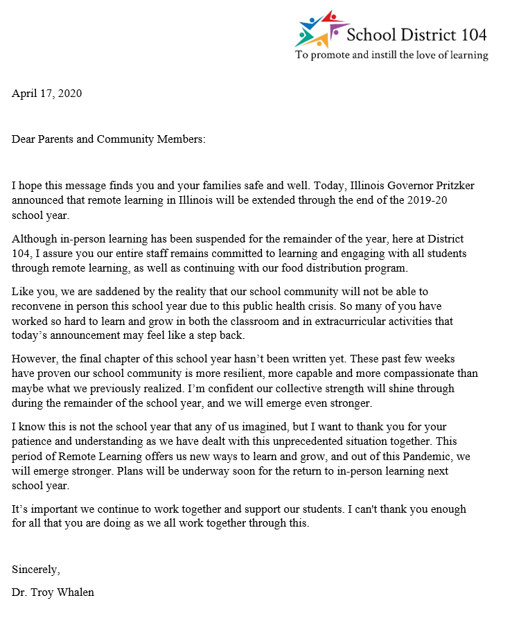 Friday, April 17, 2020- SD104 Message To Families-Students Of Extended School Closure