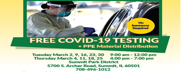 Summit Park District- FREE Covid-19 Testing + PPE Material Distribution