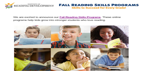 "Fall Reading Skills Programs-  Enrollment for Live Online Classes ""to support and supplement the needs of schools and their students. """
